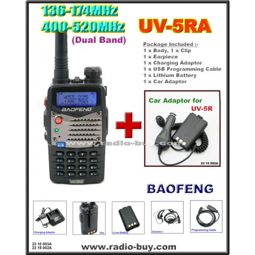 BaoFeng UV-5RA Dual Band (136-174MHz & 400-520MHz) + Car Adaptor